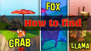 """FORTNITE - HOW TO FIND """" LAMA FOX and CRAB locations """" ( Nederlands )"""