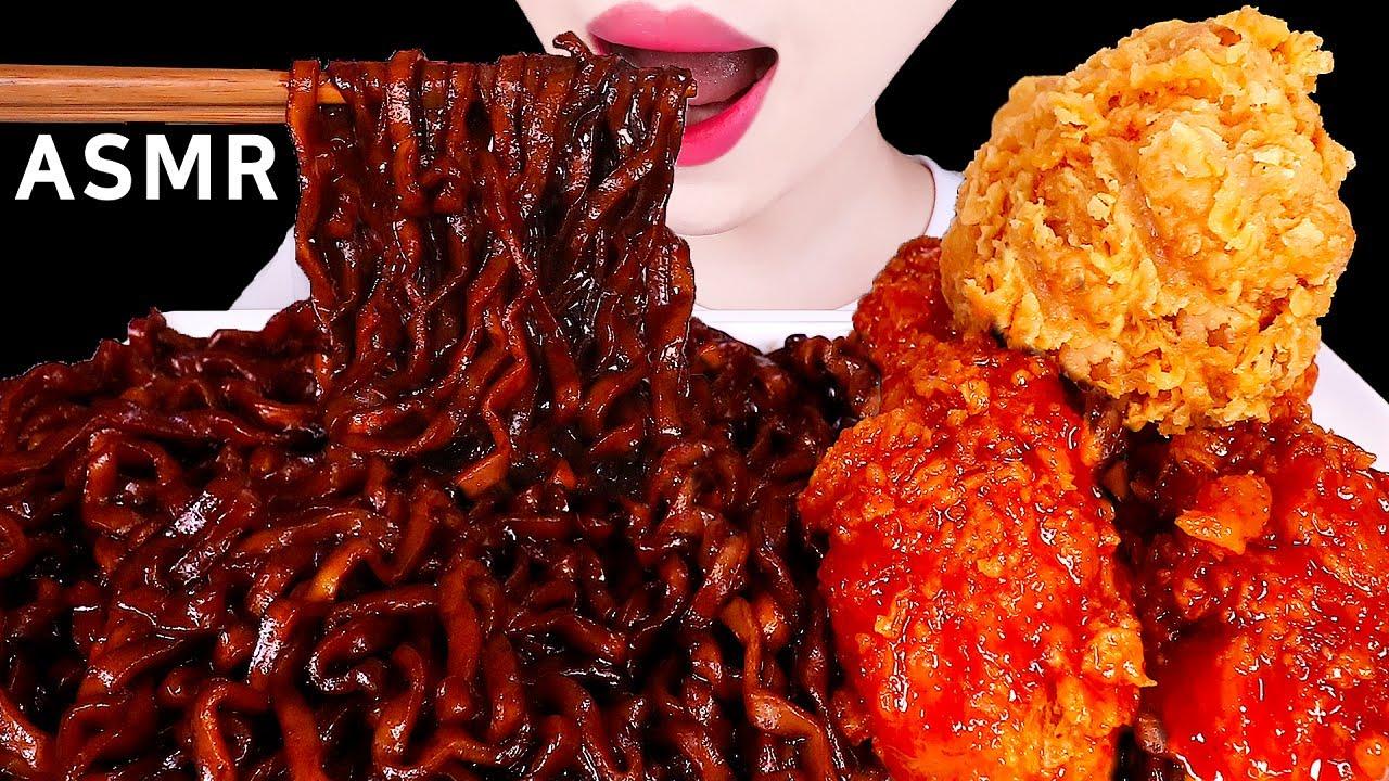 ASMR FRIED CHICKENS, BLACK BEAN NOODLES 진짜장, 황금올리브 양념치킨 EATING SOUNDS MUKBANG 먹방