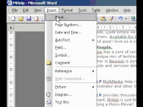 microsoft office word 2003 insert a manual page break youtube rh youtube com microsoft office 2003 manual pdf microsoft office outlook 2003 manual pdf