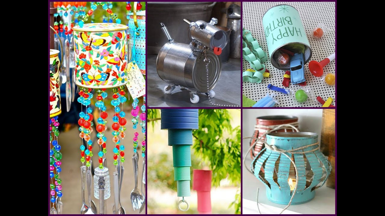Diy tin can crafts ideas recycled home decor youtube for Images of decorative items made from waste material