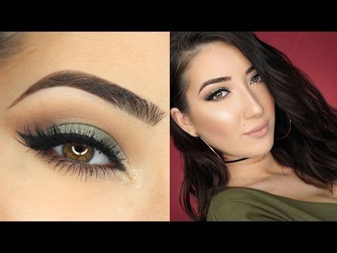 Olive Green Smokey Cat Eye Makeup Tutorial