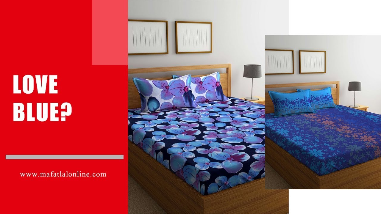 Shop For Blue Color Double Cotton Bed Sheets Online