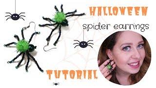 Halloween spider earrings tutorial | Halloween DIY | Spider earrings | Beaded spiders