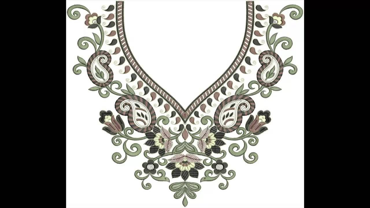 May 2015 Neck Embroidery Designs Bulk Download - YouTube