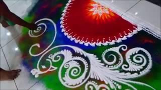 Diwali special rangoli Innovative Rangoli  Peacock Rangoli Design by Satish Thavi