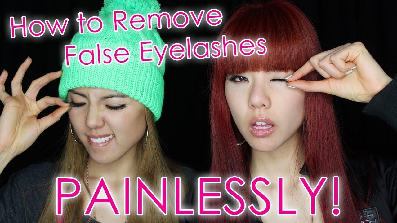 How to Remove False Eyelashes Painlessly! - YouTube