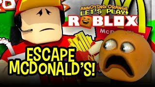 Escape the Crazy McDonalds Manager!!! (Annoying Orange Roblox)