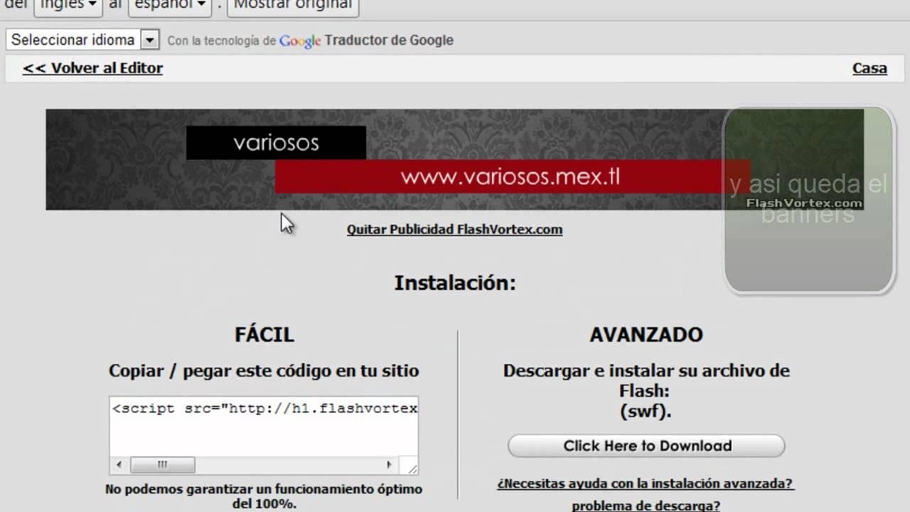 crear un banners para tu web en flashvortex - YouTube