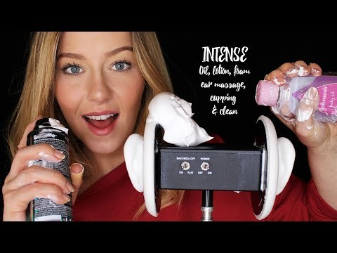 ASMR INTENSE Oil, Lotion & Foam 3dio Ear Massage, Cupping and Cleaning