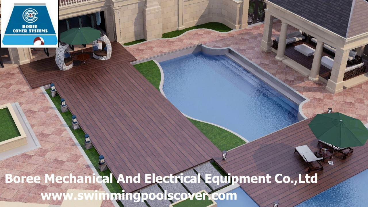 Automatic flat push swimming pool cover above ground - YouTube