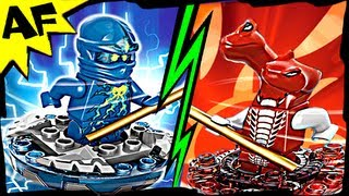 nrg jay vs fangdam lego ninjago spinjitzu battle stop motion set review 9570 9571
