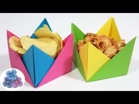 Origami f cil manualidades utiles platos desechables de papel cuencos de papel pintura facil - Platos faciles de hacer ...