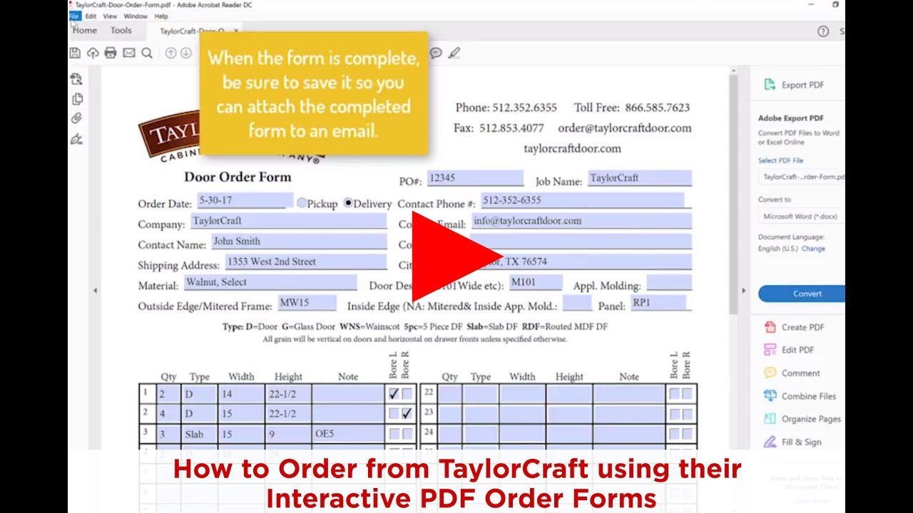 How To Order Cabinet Doors From Taylorcraft Without