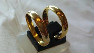 Cincin Tunangan Emas 24K(99% Emas Murni) Buatan Tangan Menggunakan Alat Manual