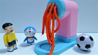 Doraemon and Nobita make soccer ball and Dragon Ball clay with noodle machine!for kids!yupyon