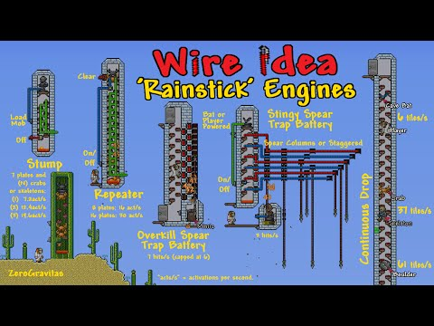 'Rainstick' Engines & Simple Rapid Fire Spear Traps (Wiring Ideas, Terraria)
