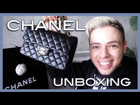 unboxing CHANEL small timeless classic double flap black lambskin with gold hardware