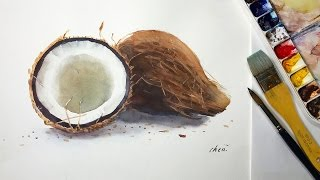 How to paint coconut in watercolor