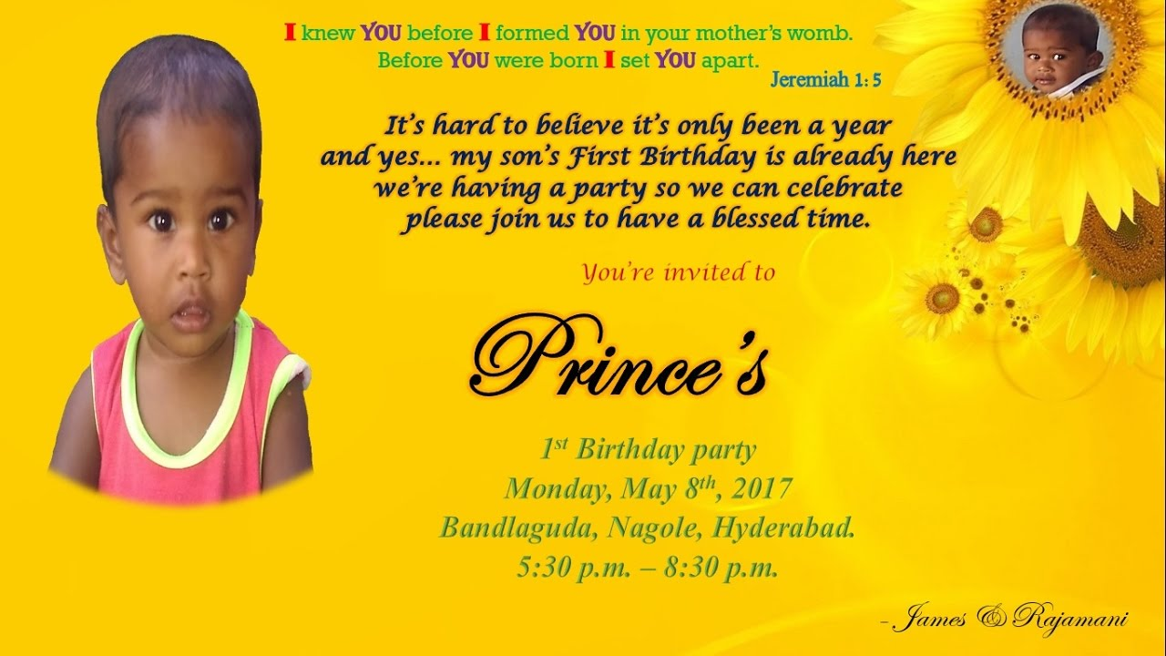 Prince Birthday Invitation - YouTube
