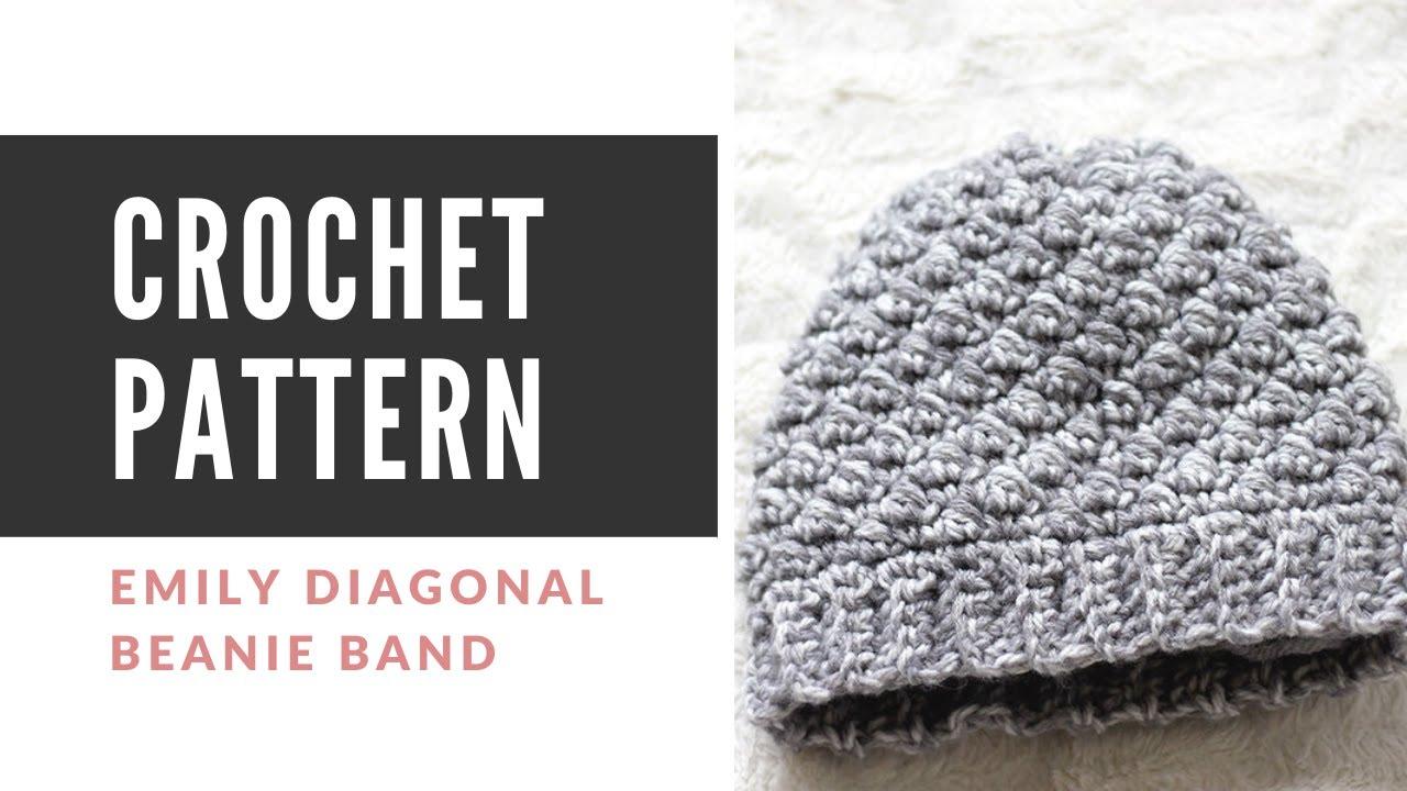 How Make the Emily Diagonal Crochet Beanie Band and SPHDC - YouTube