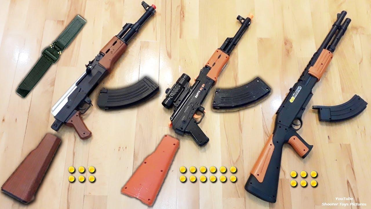 Realistic AK47 Toys Collection | Ball Bullet Shooter Toy Guns | KALASHNIKOV  Rifle Toys