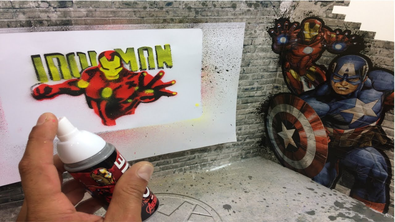 Graffart Studio Marvel Avengers Graffiti Spray Paint Color Iron Man Captain America