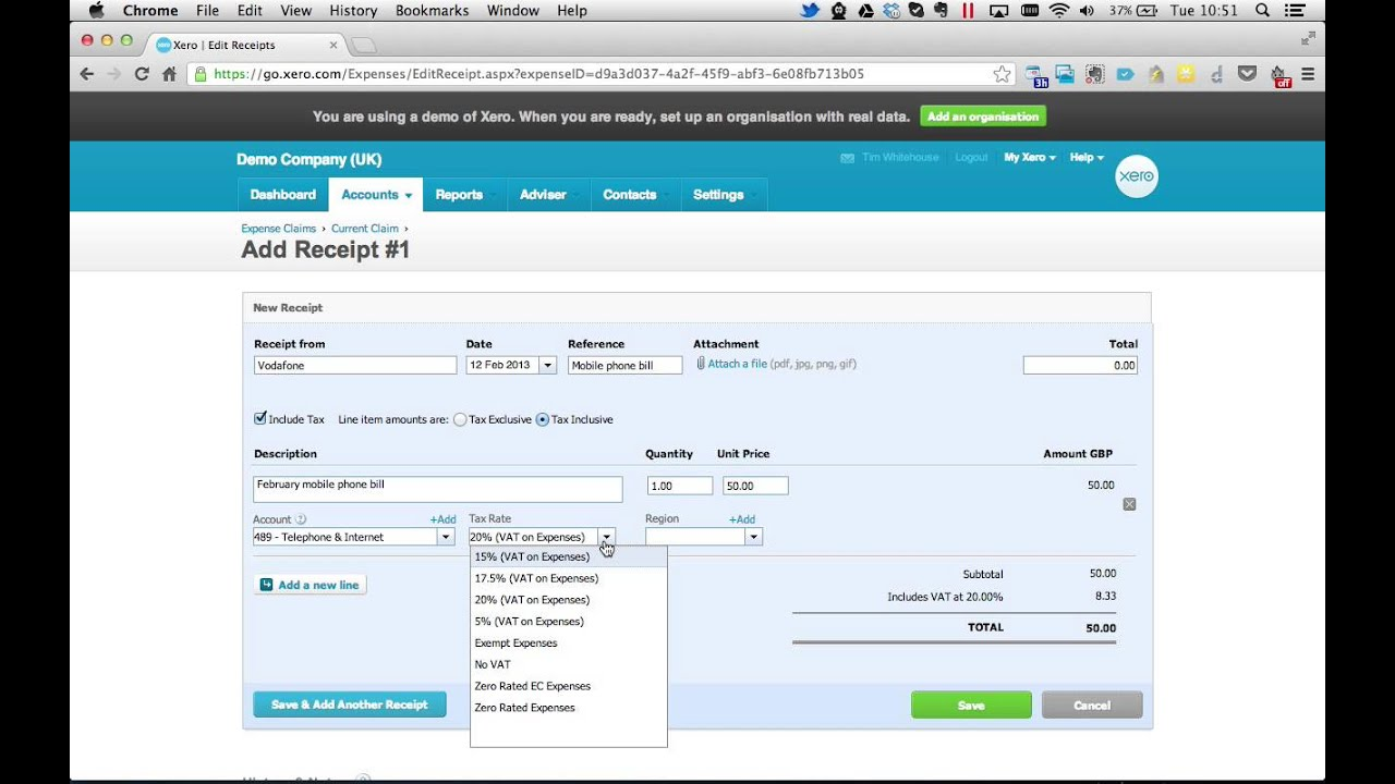 Entering expense claims using Xero Online Accounting Software ...