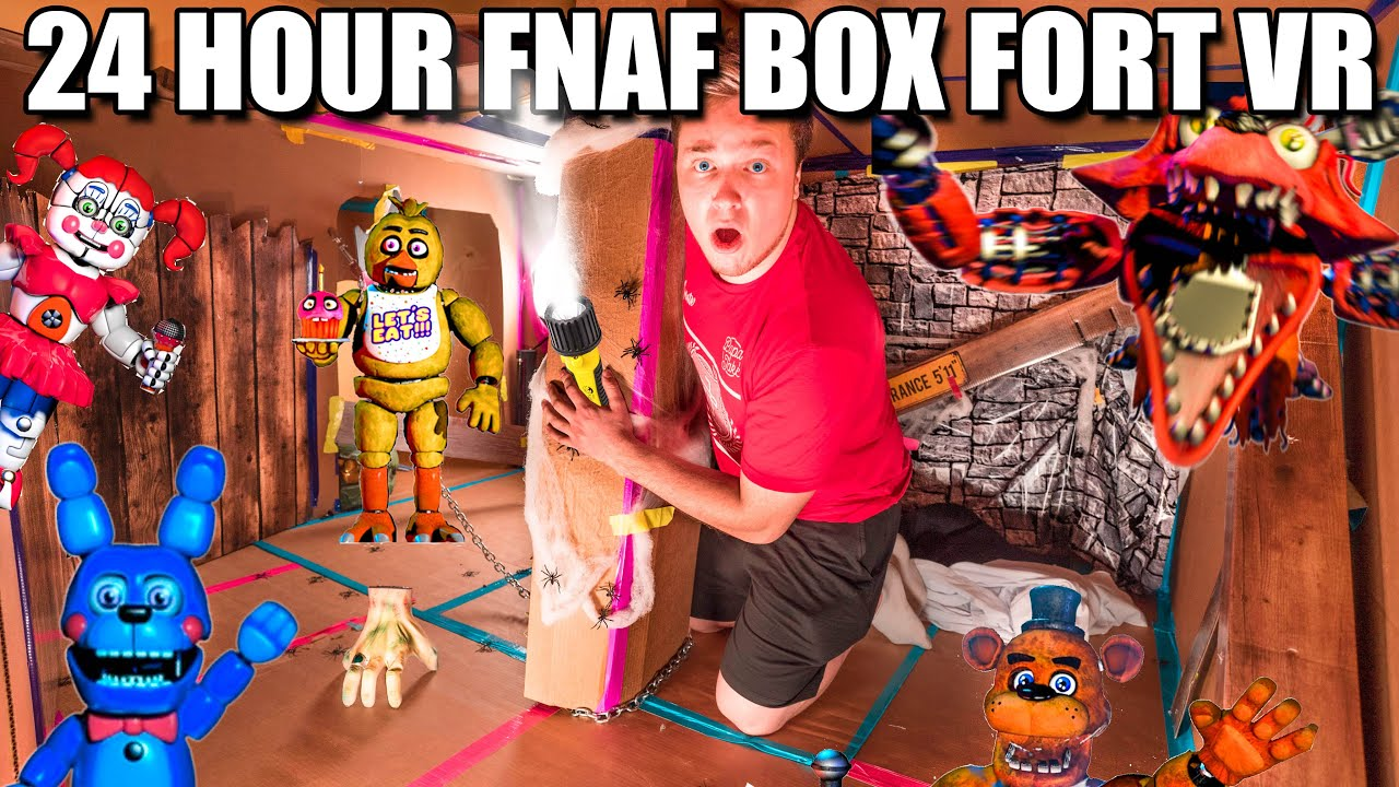 24 HOUR FNAF BOX FORT!! ???????? Scary Real Life Five Nights At Freddy's CHALLENGE (VR 180)