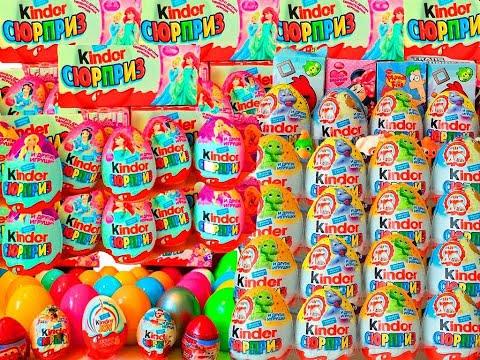 Киндер Сюрпризы,Unboxing Kinder Surprise Eggs Мега Сборник Angry Birds,Disney Cars Hot Wheels