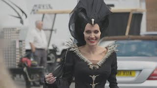 Watch Angelina Jolie Play Ping-pong As And39maleficentand39 On Set Exclusive