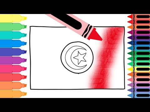 How to Draw Tunisia Flag - Drawing the Tunisian Flag - Coloring Pages for Kids | Tanimated Toys