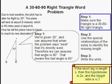 how to solve a 30 60 90 triangle word problem youtube. Black Bedroom Furniture Sets. Home Design Ideas