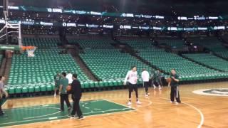 Jae Crowder, Boston Celtics warm up for Game 3 against Atlanta Hawks