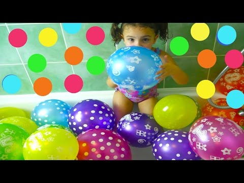 Fun Way to Learn Color  for Toddlers in the Balloon Bath! Colour with Bath Toys and Balloons