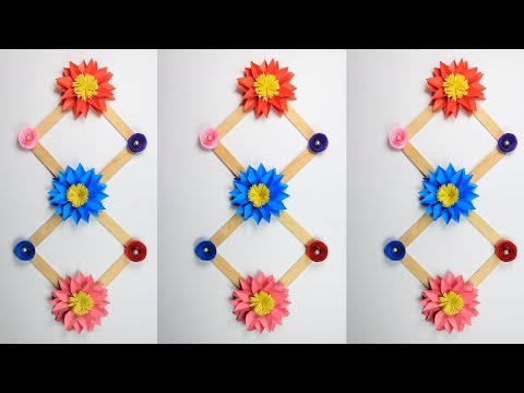 Paper Flower Wall Hanging With Ice Cream Sticks Wall Decoration