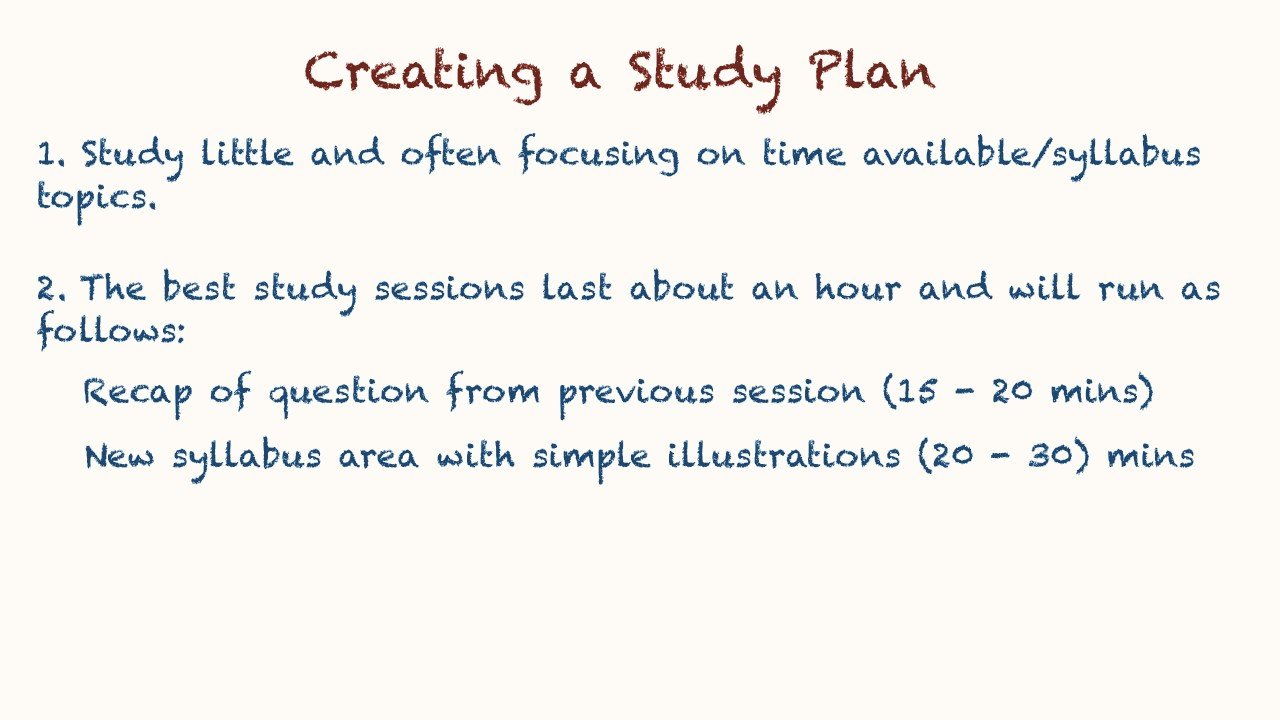 how to plan a study session