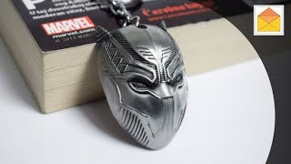 Black Panther Marvel Metal Keychain Silver V02 In Hand Review