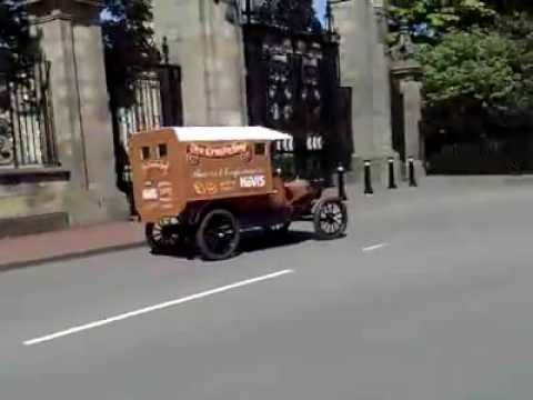 Car Lovers Vintage, Classic, Old Ford Cars Trucks Edinburgh in front of Scottish Parliament