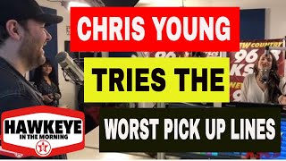 Chris Young visits KSCS' Hawkeye in the Morning and tries out the World's Worst Pick Up Lines Video