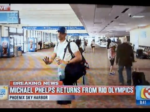 Michael Phelps Returns from Rio Olympics 2016