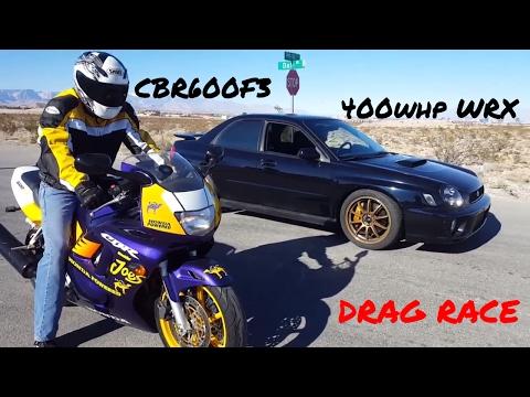 Honda CBR600F3 races 400whp WRX