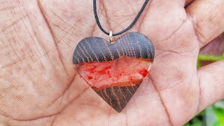 DIY Red River Heart ❤️ Necklace From Epoxy Resin And Wood | Love Heart | Resin Necklace Pendant