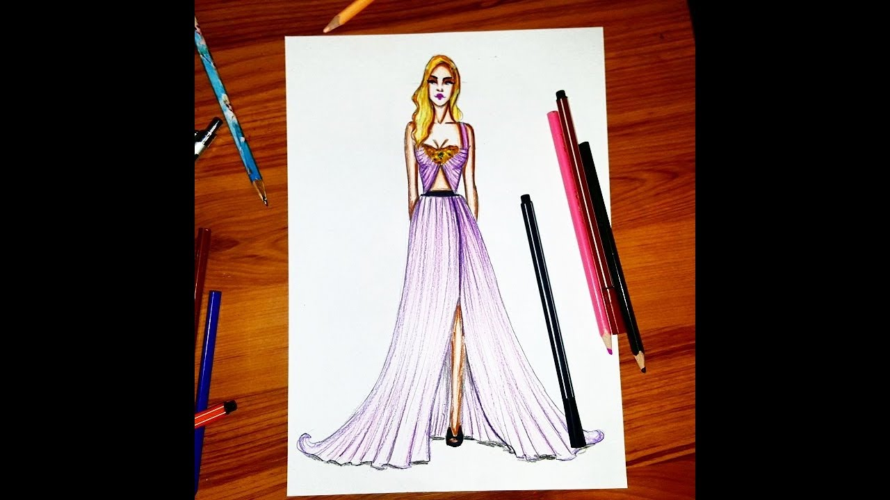Fashion Illustration Draw A Gown For Beginners Easy Youtube