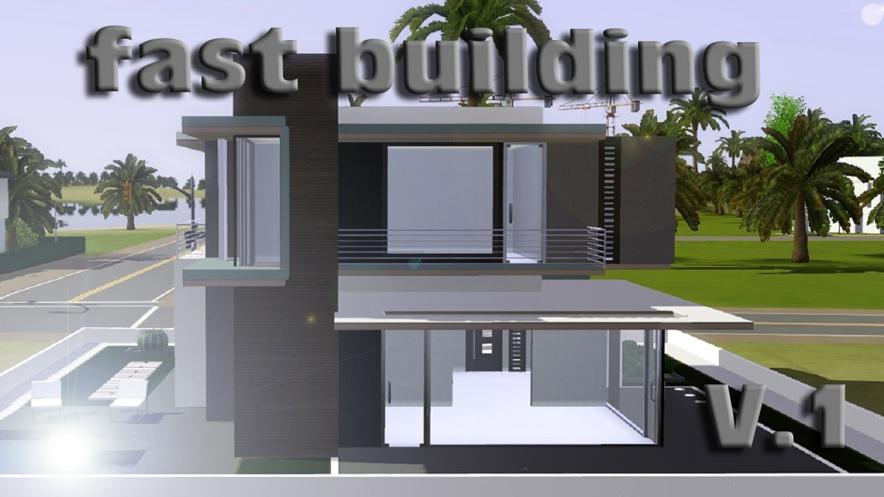 Sims 3 speed building small modern house v 1 ihdi youtube for How to build a modern home