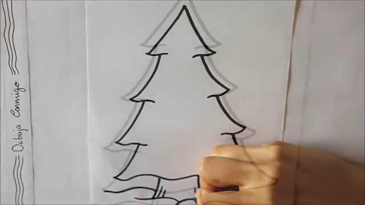 Cmo dibujar Un rbol de Navidad Dibuja Conmigo Dibujos de Navidad