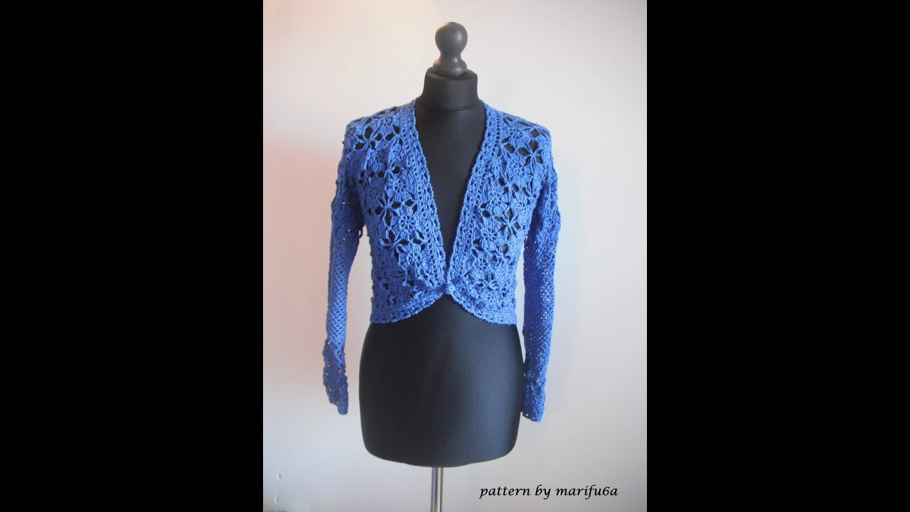 how to crochet elegant jacket bolero free pattern tutorial - YouTube
