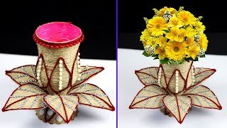 How to make flower vase with plastic bottle and jute rope | Home made flower vase | Easy DIY vase