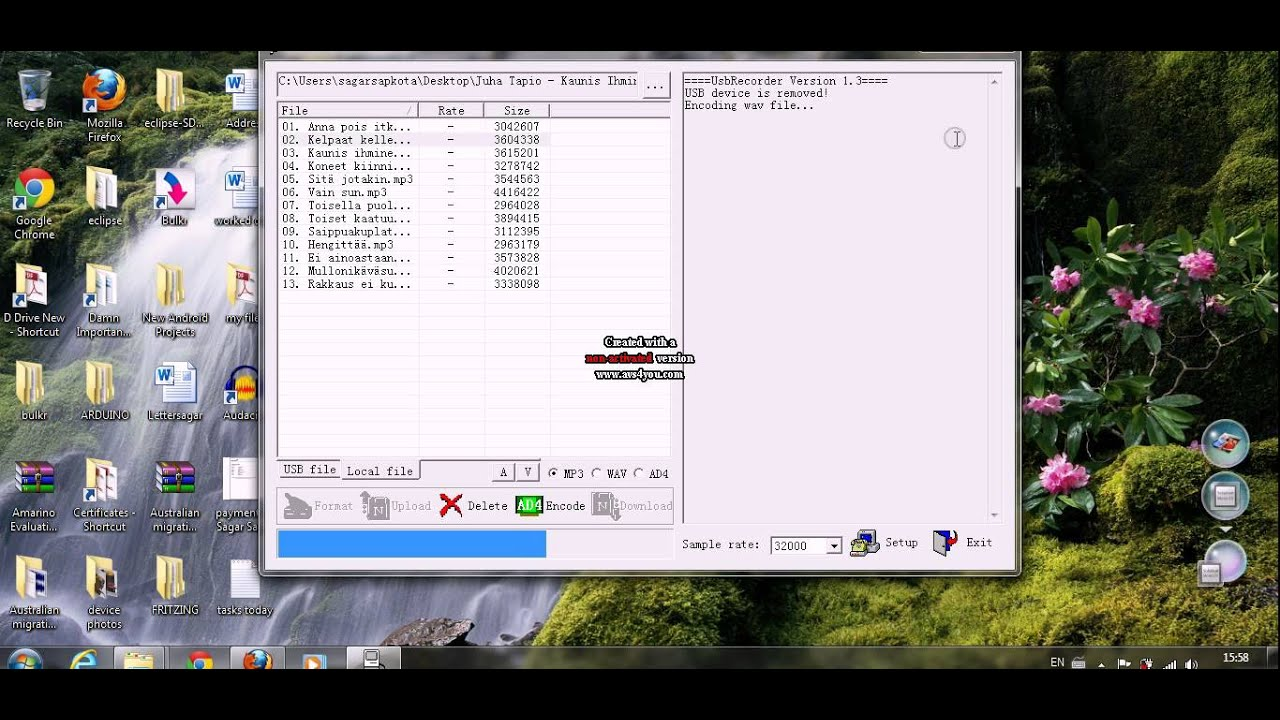 How to convert mp3 and wav files to ad4 format- wtv020SD-16P