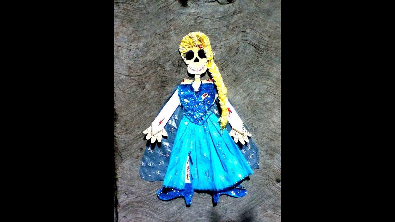 Diy frozen elsa vestir con papel esqueleto p1 halloween for Ideas para vestir