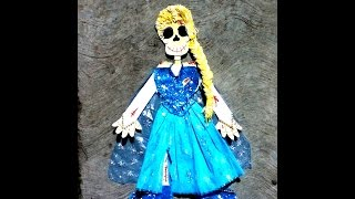 DIY Frozen Elsa vestir con papel esqueleto p1 Halloween ideas paper skeleton  día de muertos